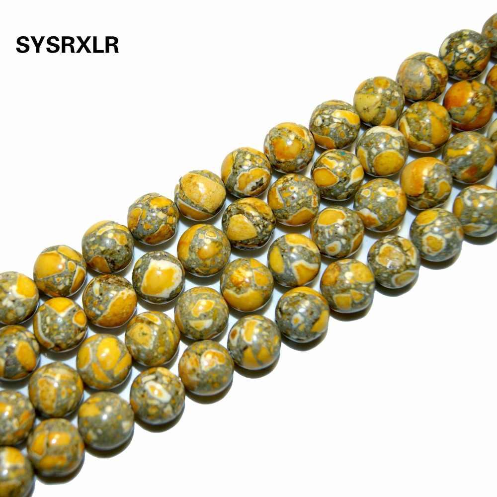 """ฟรีขนส่ง 15 """"หินธรรมชาติสีเหลืองตะกอนทะเลลูกปัดรอบ Imperial คลาย 6/8/10 มิลลิเมตรเลือกรูปแบบสำหรับเครื่องประดับ DIY"""