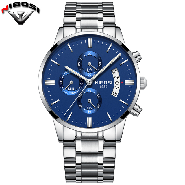 Nibosi Luxury Stainless Steel Waterproof Men Quartz Watches 3