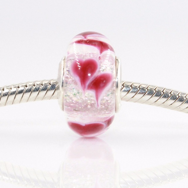 7cf891bd8 Fit Pandora bracelet Murano glass bead charm 925 sterling silver Pink  Flowers glass Valentine's Day Love beads DIY wholesale