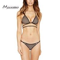 Missomo 2018 New Fashion Women Soft Mesh Panties Black Sexy Push Up Halter Hollow Nets Underwear Lace Bralettes Bra Sets