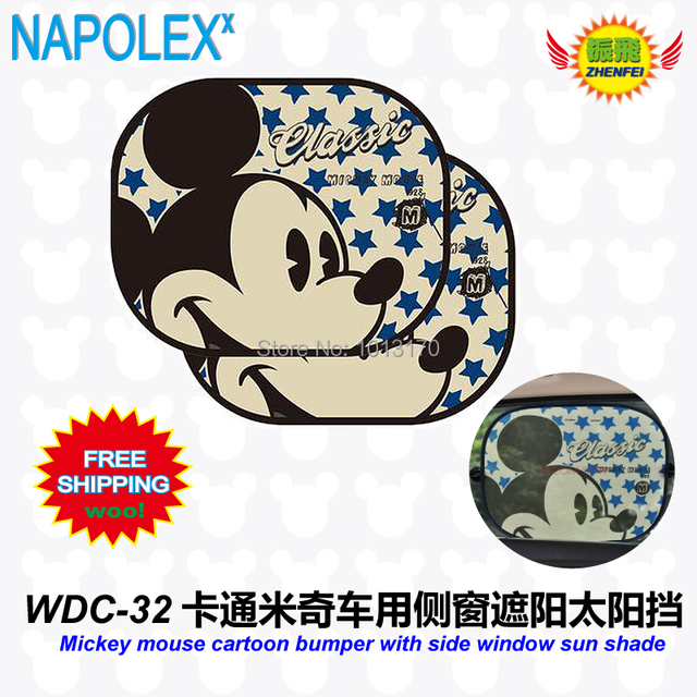 free shipping Accessories Mickey mouse cartoon bumper with side window  sunshade Foils Windshield Visor Cover Block 450f42236c3