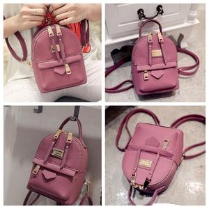 Image 4 - Fashion Wobag Backpacks Woman 2019 Mini PU Leather Backpack Female Solid Color Bookbag Gift Backbag Backpack Schoolbag For Girls