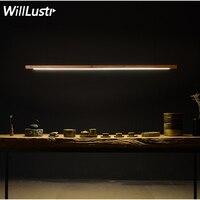 Willlustr дерево светодио дный LED talo подвесной светильник длинные бар трубки подвеска освещение офис встреча столовая отель Вилла счетчик свет