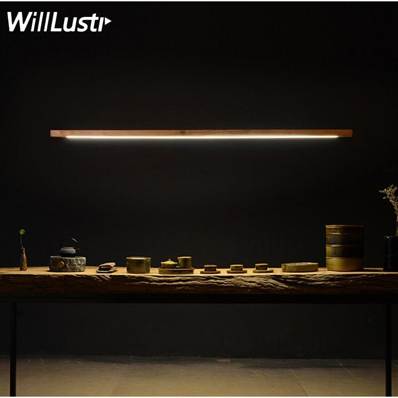 Willlustr LED Wood Talo Pendant Lamp Walnut Long Bar Tube Suspension Light Office Meeting Dinning Room Hotel Villa Counter Light