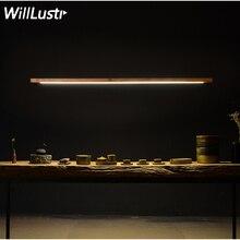 Willlustr LED ahşap Talo kolye lamba ceviz uzun çubuk tüp süspansiyon ışık ofis toplantı yemek odası otel Villa sayacı ışık