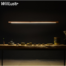 Willlustr LED الخشب تالو قلادة مصباح الجوز شريط طويل أنبوب تعليق ضوء مكتب اجتماع غرفة الطعام فندق فيلا مكافحة ضوء