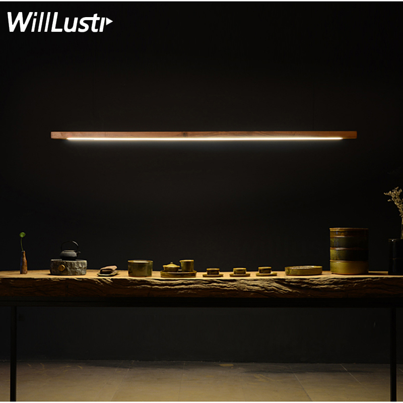 Willlustr wood LED talo pendant lamp long bar tube suspension lighting office meeting dinning room hotel villa counter light