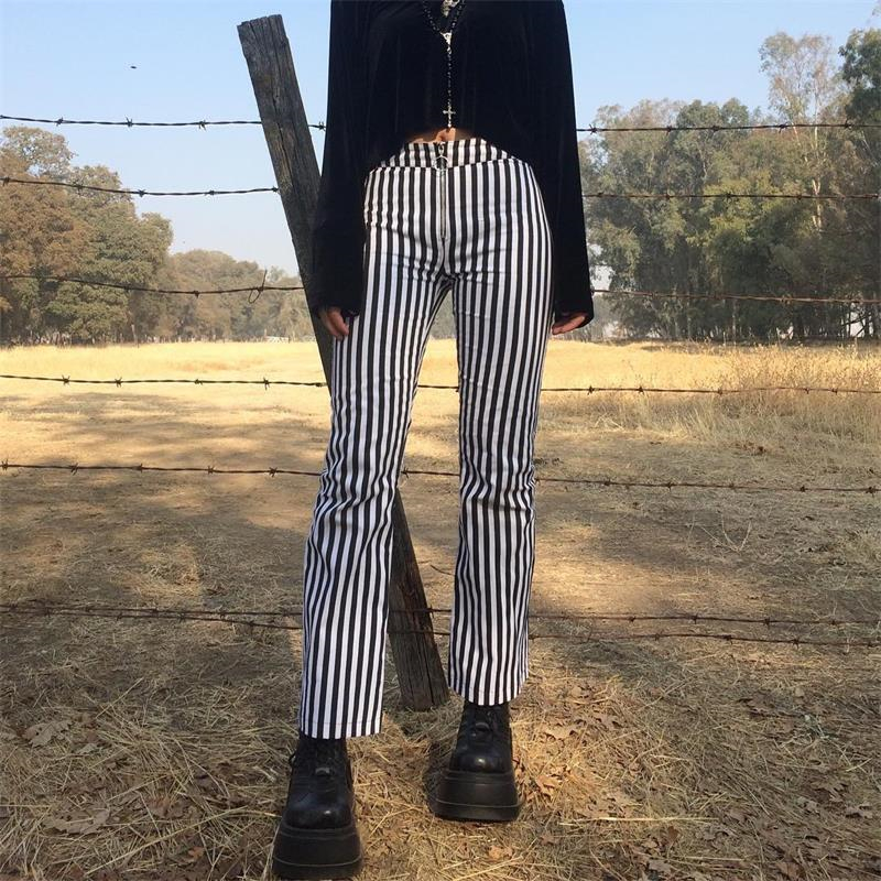 InstaHot Spring Striped Boot Cut Flare Pants Women 2019 High Waist Slim Long Pants Office Lady Fashion Streetwear Casual Clothes