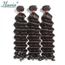 """ILARIA волос 8A норки бразильский 3 пучки волос Девы 1""""-30"""" волна воды может быть беленой для#613 сырья натуральные волосы Weave Связки"""