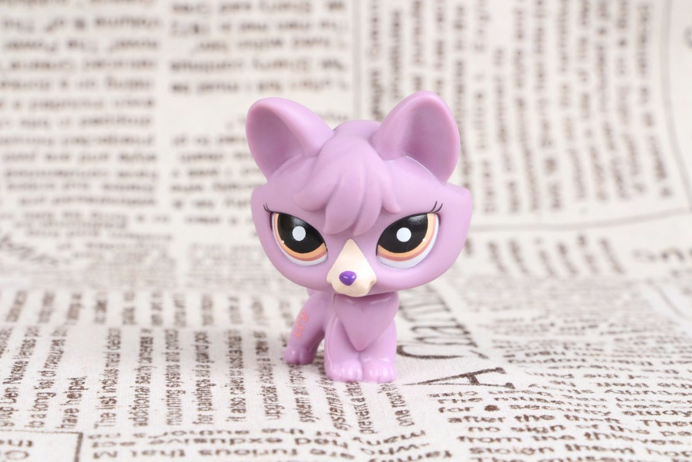 New pet Genuine Original LPS #1536 Rare Purple Fox with Orange & Brown Eyes Collection figure Toys lps pet shop toys rare black little cat blue eyes animal models patrulla canina action figures kids toys gift cat free shipping