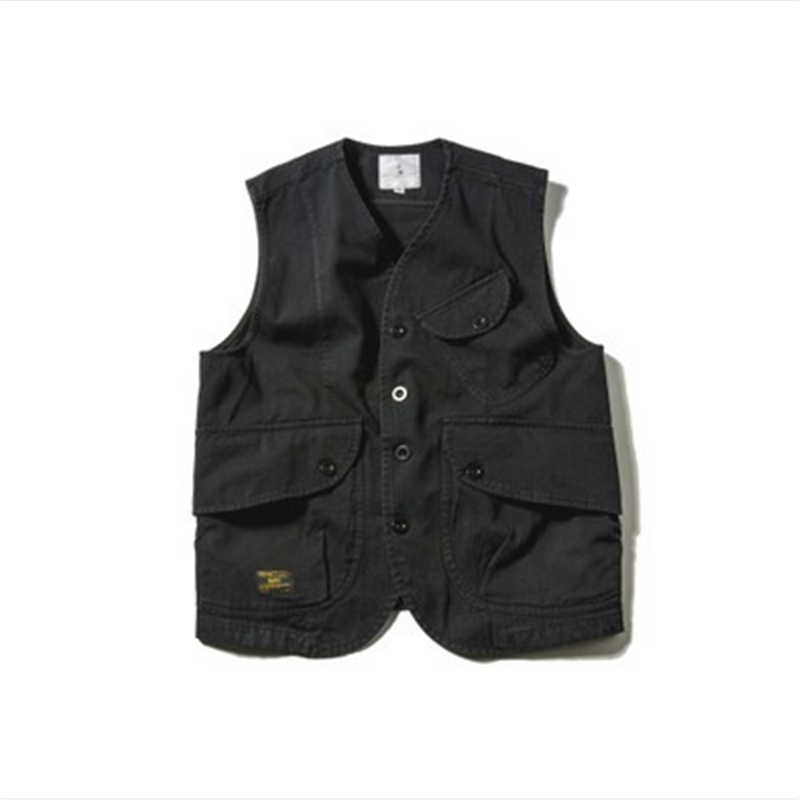 2019 New Autumn Fashion Black Sleeveless Jacket Men Cotton Vest With Many Pockets Casual Mens Cargo Vests Waistcoat DS50103