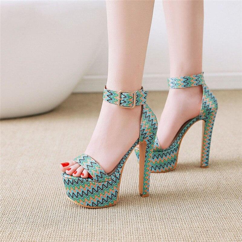 YMECHIC Summer Pink Blue Platform Women Sandals Extreme High Heels Printed Buckle Strap Cover Heel Ladies