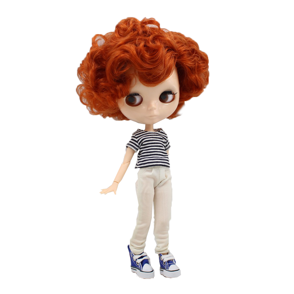 fortune days factory blyth doll natural skin short red brown hair joint boy body joint neck without makeup 1/6 30cm 90BL1207-in Dolls from Toys & Hobbies    1
