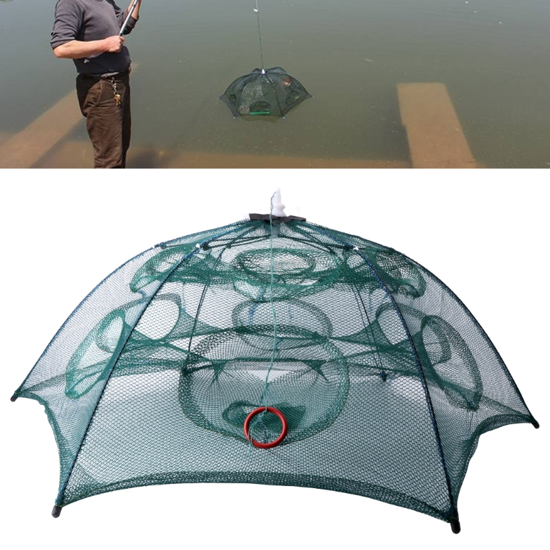 New Type Foldable Fishing Net Automatic Fishing Net Shrimp Cage Nylon Crab Trap Cast Network 12 Holes