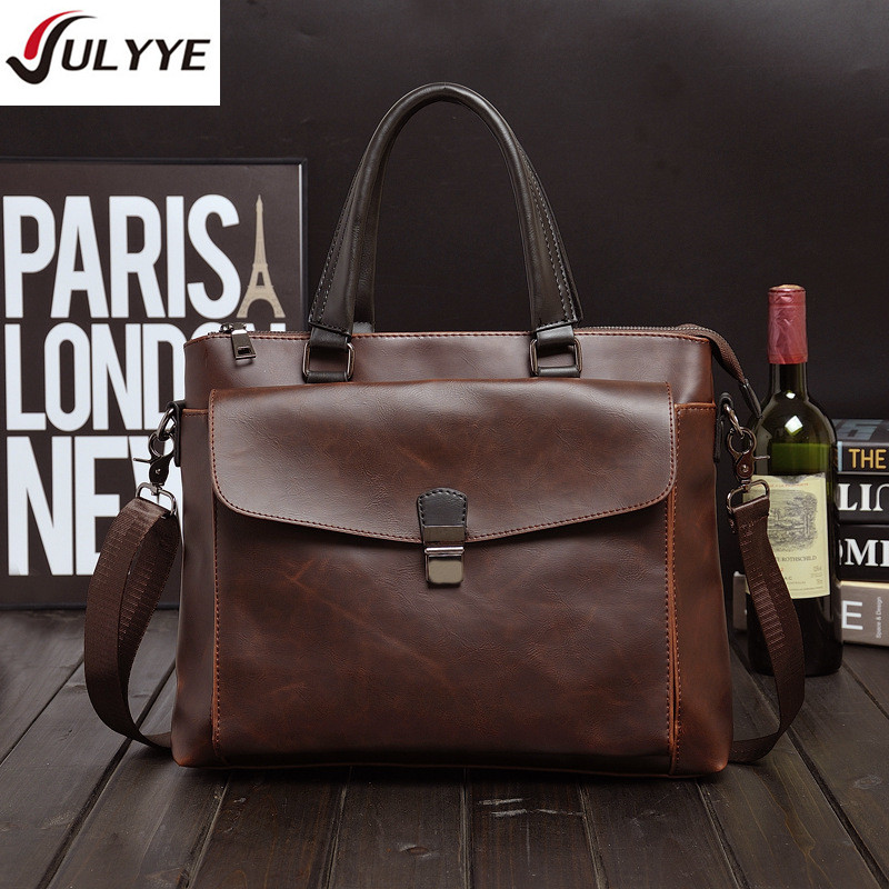цены YULYYE British Style Crazy Horse Leather Bag High Quality Men Handbag Men Crossbody Bags Men's Travel Bag Tote Laptop Briefcases