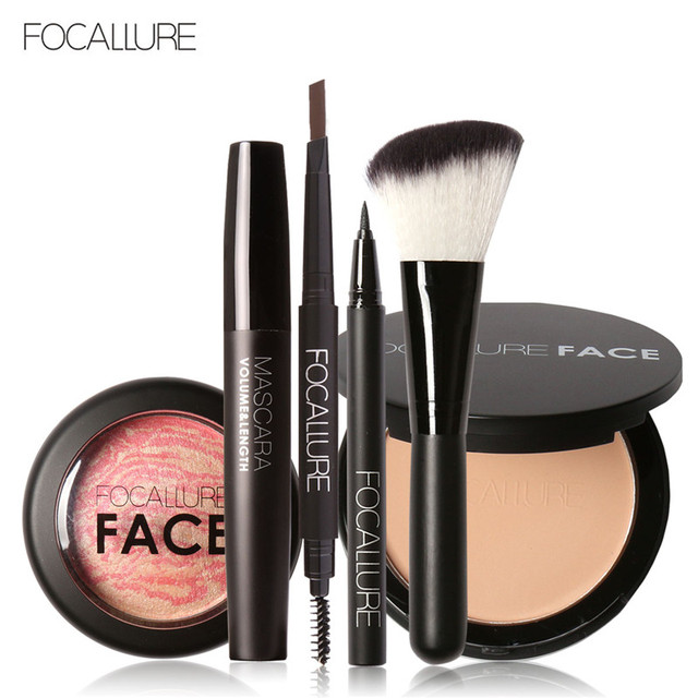 FOCALLURE Pro 6Pcs Face Powder Brush Pressed Powder Baked Blush Eyeliner Pen Black Volume Mascara Eyebrow Pencil