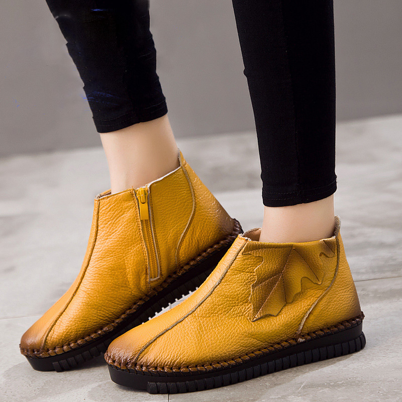 2019 Brand New Side Zipper Leisure Handmade Genuine Leather Boots Leaves Litchi Texture Women s Short
