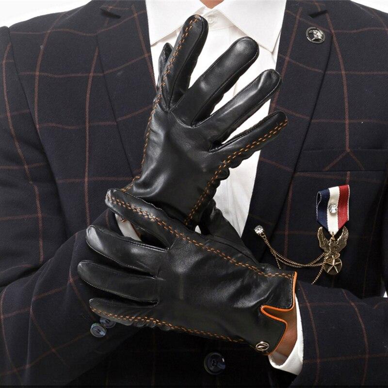 Mode hommes gants en cuir véritable hommes gants automne Plus velours chaud noir gants Nappa peau de mouton mâle mitaines livraison gratuite - 3