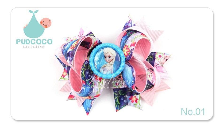 JRFSD 10 Colors Hair Clip Headband Princess Elsa Anna Ribbon With Alligator Kids Hair Bands Hair Accessories H0 14