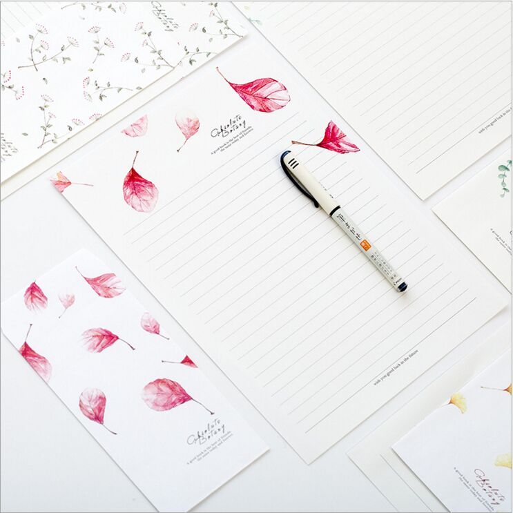 Fresh Season Leaves Letter Envelope 6 Sheets Letter Paper+3 Pcs Envelope Per Set Writing Paper Stationery Storage Gift Envelope