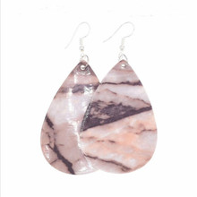 new arrival creative marble pattern leather earrings for women lightweight water drop dangle statement fashion jewelry
