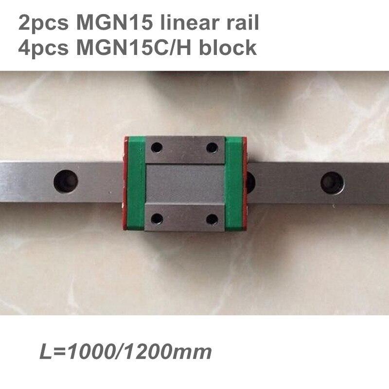 2 pièces 15mm Guide linéaire MGN15 L = 1000 1200mm rail linéaire miniature + 4 pièces MGN15C ou MGN15H Long chariot linéaire