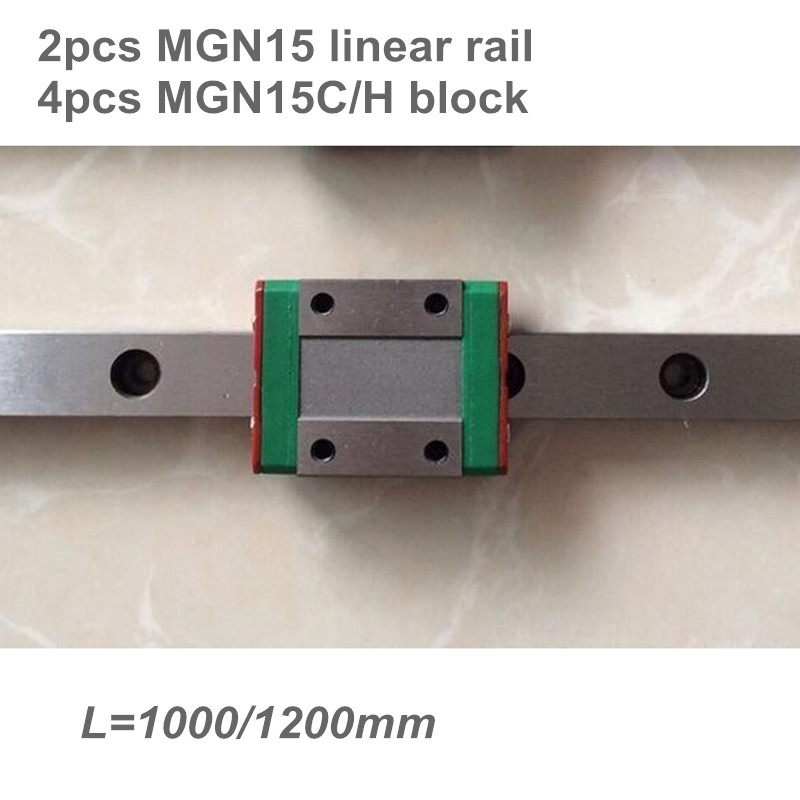 2pcs 15mm Linear Guide MGN15 L=1000 1200 mm miniature linear rail + 4pcs MGN15C or MGN15H Long linear carriage2pcs 15mm Linear Guide MGN15 L=1000 1200 mm miniature linear rail + 4pcs MGN15C or MGN15H Long linear carriage