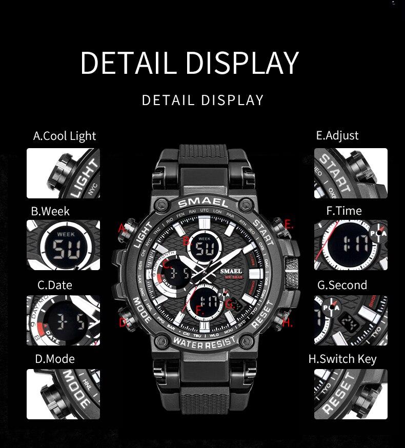 exibição analógico relógio digital dos homens esportes