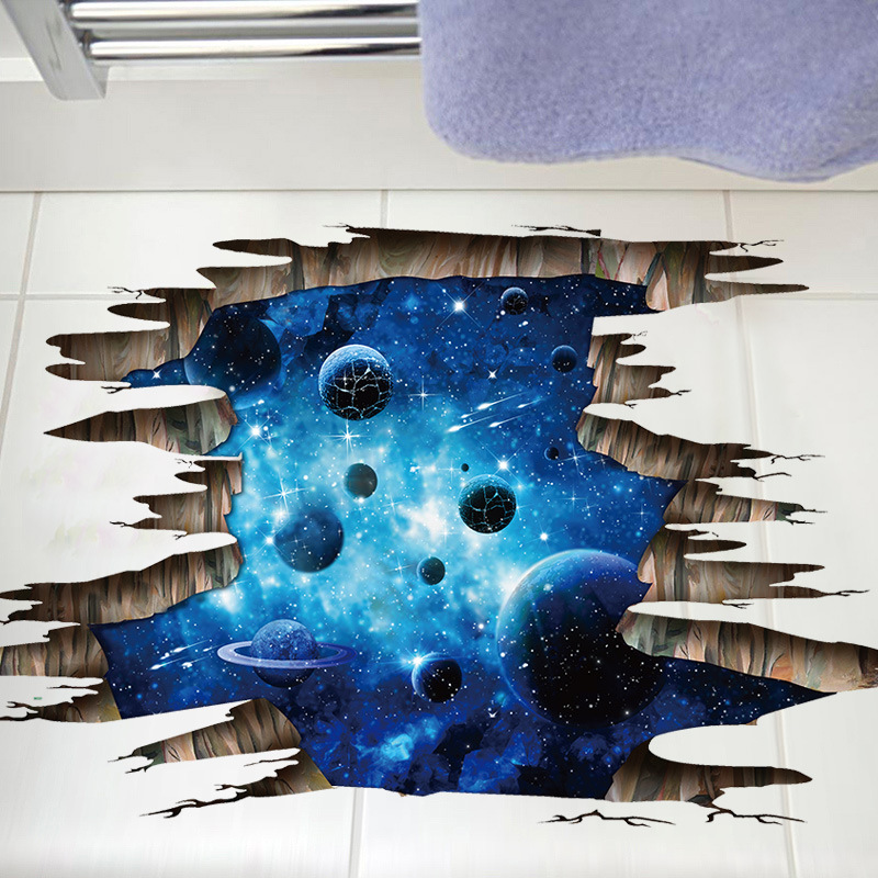 3D Universe Galaxy Wall Stickers For Ceiling Roof Self-adhesive Mural Personality Waterproof Floor Sticker Kids Room Decoration