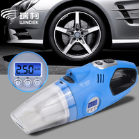 WINDEK 12V Car Wheel Electric Air Compressor Tire Inflator Pump Handheld Car Vacuum Cleaner Auto Portable