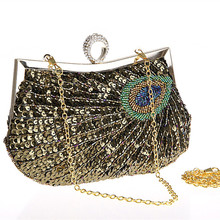 Neue Tragbare Handgefertigte Ring Kupplungen Pfau Pailletten Luxus Taschen Frauen Handtaschen Abendtaschen für Party Hochzeit
