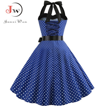 Sexy Halter Party Dress 2018 Retro Polka Dot Hepburn Vintage 50s 60s Pin Up Rockabilly Dresses Robe Plus Size Elegant Midi Dress 2