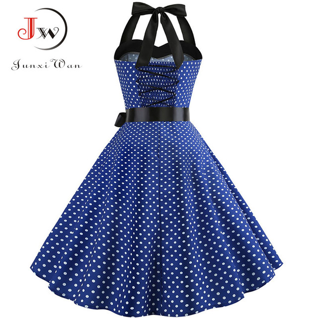 Sexy Halter Party Dress Retro Polka Dot Hepburn Vintage 50s 60s Pin Up Rockabilly Dresses Robe Plus Size Elegant Midi Dress 2