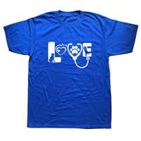 WEELSGAO Love Animals Veterinarian T Shirt Cotton T Shirt Top Tee For Teen Boys Short Sleeve