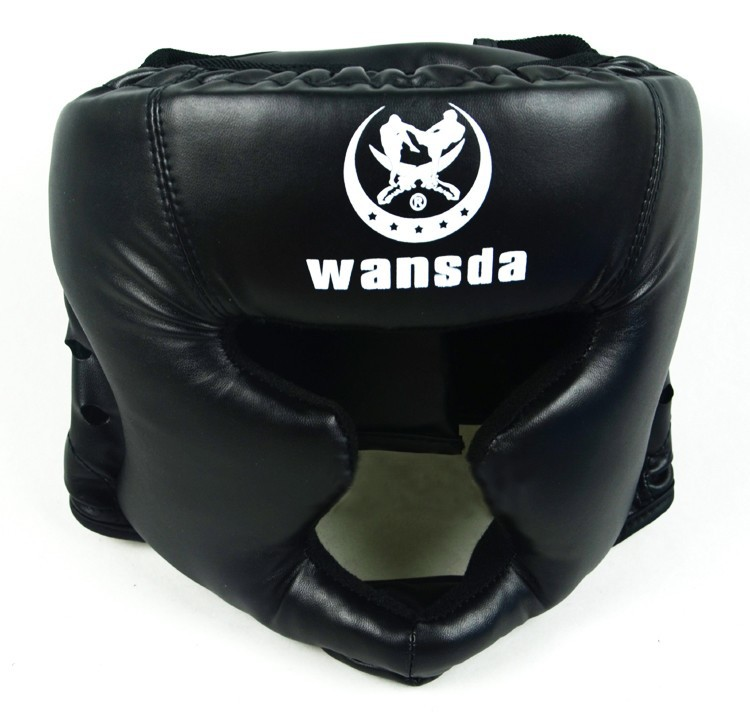 Good black boxing training Sanda protective gear helmet ...