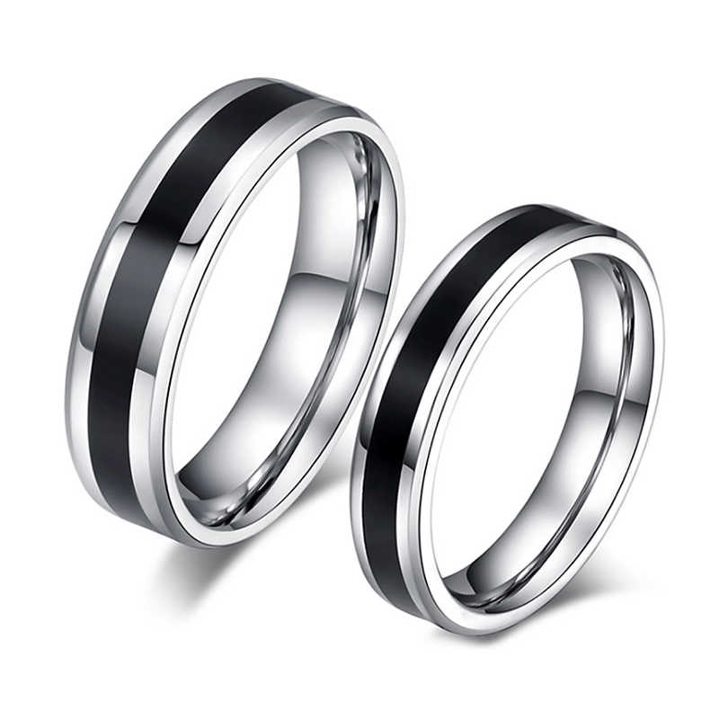 Stainless Steel Rings Classic Alliance Wedding Rings for Women Men Black & Silver Color Rings Couple Jewelry Promise Band