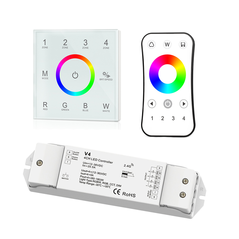 New Led rgbw Strip controller Wall Touch panel 2.4GHz RF Remote wireless 4 zone RGBW Led Controller V4 4CH*5A Receiver R8 Remote