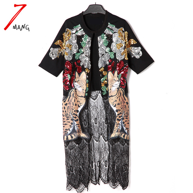 2017 spring summer women fashion lace sequins patchwork long cardigan short sleeve loose trench