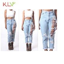 2017 klv секси pantalones newlywomen джинсовые свободные разорвал брюки высокой талией джинсы узкие брюки calcas 17may 12