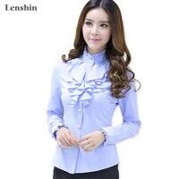Lenshin Blau Bluse Fashion Style Weibliche Beiläufiges Hemd Eleganten Rüschenkragen Büro-dame Tops Frauen Tragen Heißer Verkauf