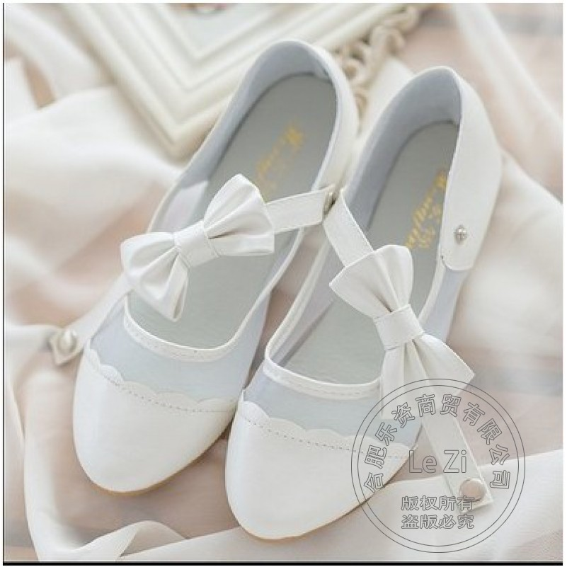 Patent Leather Cute Ballerina Pu Lolita Strappy Dance Waterproof Solid Color Mary Jane Shoes