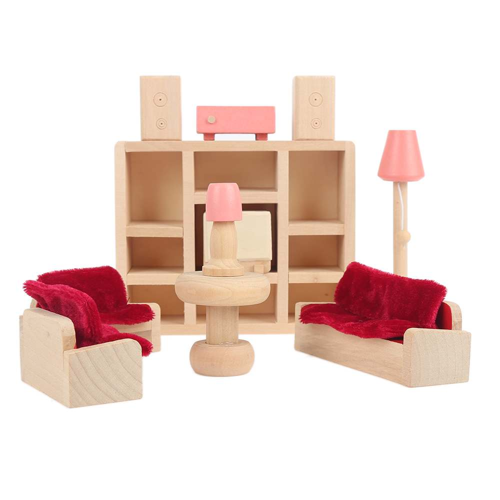 Dolls House Furniture Set Miniature Wooden Family Children