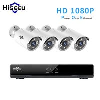 Hiseeu 4CH 8CH 1080P 48V POE NVR Kit CCTV System 4pcs 2MP Outdoor IP66 Metal IP