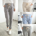 Kesebi J2FE220#8139 Women Striped Harem Pants Female Cotton Linen Full Length Trousers Elastic Waist Casual Drawstring Pants
