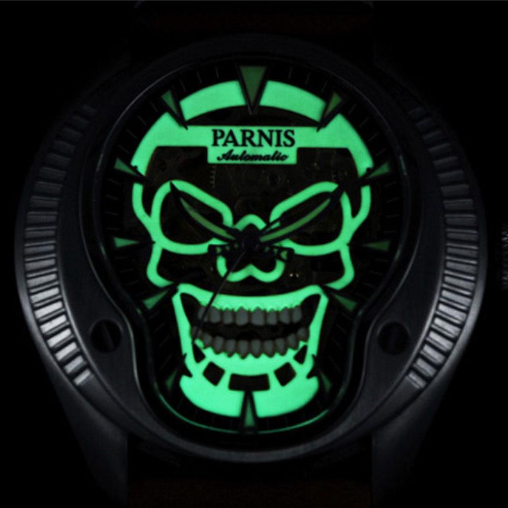 Parnis skeleton mechanical top Luxury brand mens watch 43mm 2