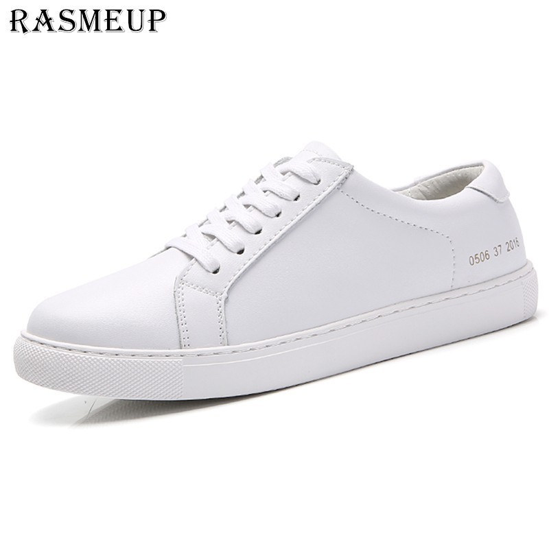 RASMEUP Genuine Leather Womens Flat Shoe Women Soft Breathable Sneakers Black White Lace Up Woman Casual Flats Female Footwear RASMEUP Genuine Leather Womens Flat Shoe Women Soft Breathable Sneakers Black White Lace Up Woman Casual Flats Female Footwear