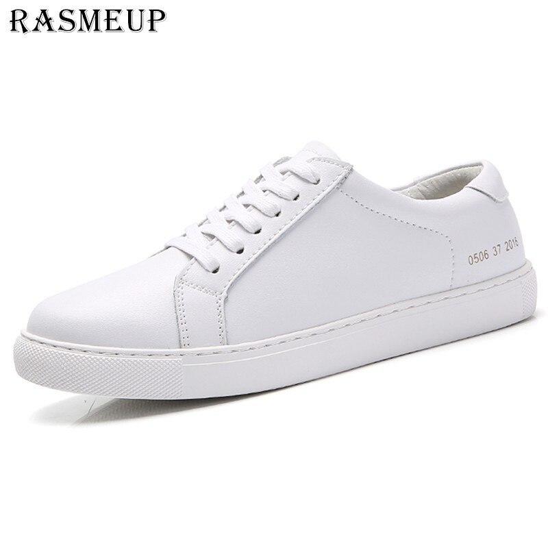 RASMEUP Genuine Leather Women's Flat Shoe Women Soft Breathable Sneakers Black White Lace Up Woman Casual Flats Female Footwear