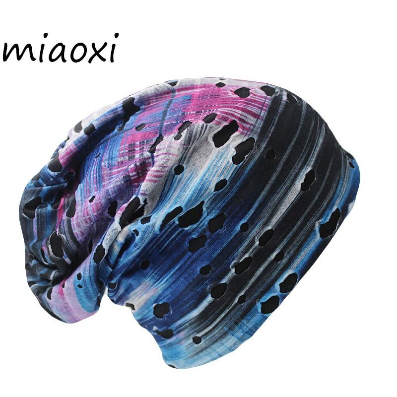 Miaoxi New Arrival Fashion 6 Colors Knit Winter Hole Men Skullies Beanies Unisex Hip-Hop Solid Warm Hat For Women Touca Caps