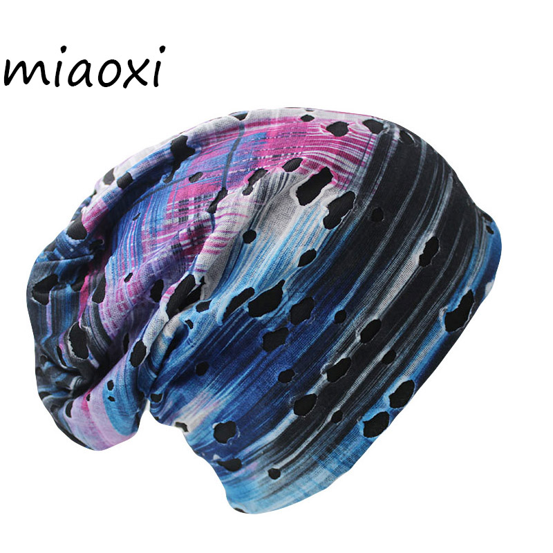 miaoxi New Arrival Fashion 6 Colors Knit Winter Hole Men Skullies Beanies Unisex Hip-Hop Solid Warm Hat For Women Touca Caps