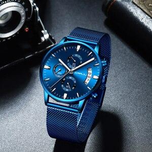Image 3 - Relogio masculino crrju 새로운 최고 브랜드 럭셔리 시계 남성 패션 캐주얼 쿼츠 시계 남성 스테인레스 스틸 블루 방수 시계